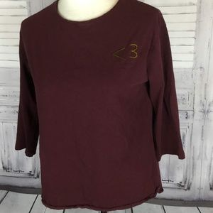 Maroon Tee Shirt Zara Love Changes Everything  M